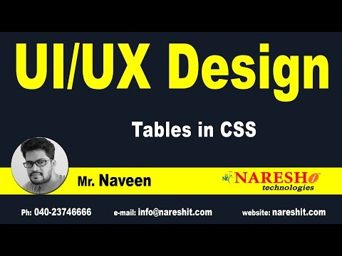 Session: 3 | Tables in CSS | CSS Tutorial | by Mr.Naveen Saggam